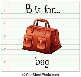 saco, b, letra, flashcard