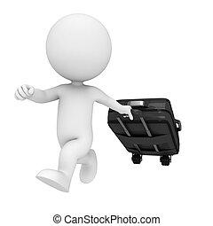 saco, branca, 3d, viajando, pessoas
