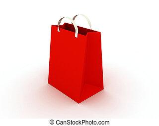 saco, branco vermelho, fundo