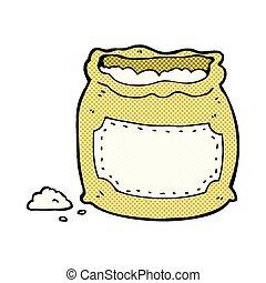 saco, cômico, caricatura, farinha