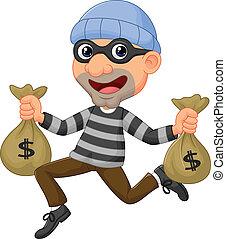 saco, caricatura, carregar, ladrão, dinheiro