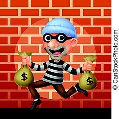 saco, carregar, ladrão, dinheiro