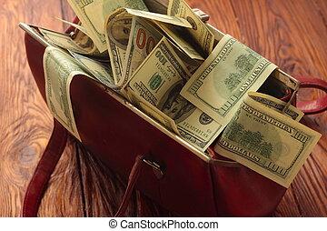 saco, cheio, de, dinheiro