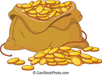saco, cheio, de, dourado, moeda