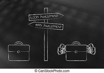 saco, com, dinheiro, perto, bom, investimento, sinal estrada, e, vazio, um, perto, mau