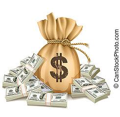 saco, com, pacotes, de, dólares, dinheiro