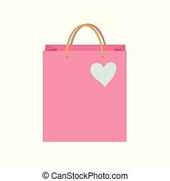 saco, concept., dentro, vetorial, azul, cor-de-rosa, coração, shopping