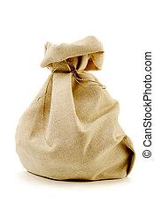 Saco de la arpillera arpillera regalo aislado saco plano de fondo blanco - Saco arpillera ...