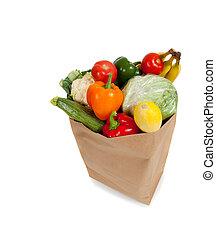 saco de la tienda de comestibles, lleno, de, vegetales, en, un, fondo blanco