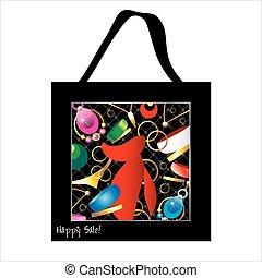 saco, desenho, mulher,  shopping, jóia