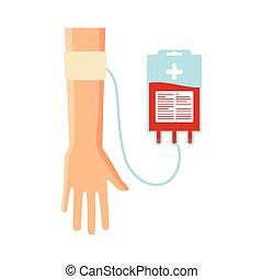 saco, doação, sangue, mão
