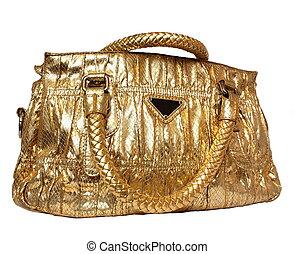 saco, dourado, isolado, feminina