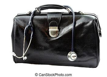 saco, estetoscópio, doutor