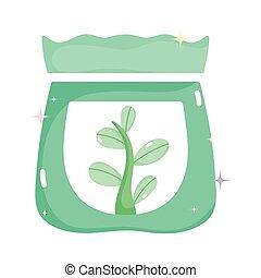 saco, fertilizante, planta, kawaii, jardinagem, caricatura