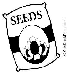 saco, flor branca, pretas, sementes