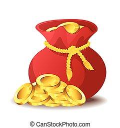 saco, ilustração, ouro