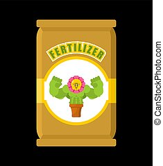 saco, ilustração, vetorial, fertilizante, plants., forte, isolated.