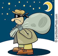 saco, ladrão, ilustração, caricatura