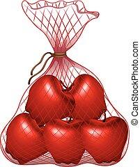 saco, maçãs, vermelho