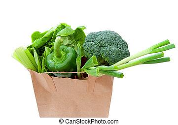 saco mantimento, com, legumes