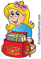 saco, menina, caricatura, escola