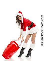 saco, menina, shopping, vermelho, santa