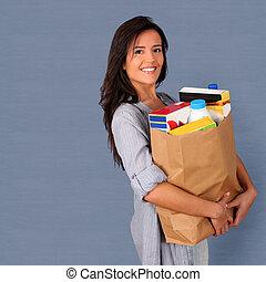 saco, mercearia, mulher, carregar, jovem