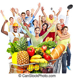 saco, mercearia, mulher, vegetables.