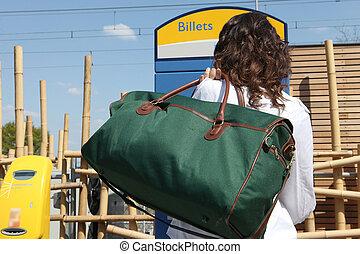saco, mulher, estação