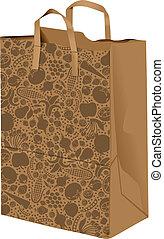 saco, papel, ilustração
