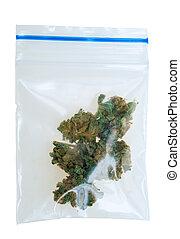 saco, pedaços, cannabis, plástico