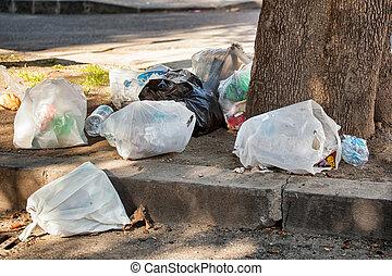 saco, rua, lixo