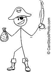 saco, sabre, pirata, ouro, caricatura