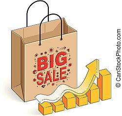 saco shopping, com, mapa crescimento, grande, venda, sellout, varejo, pretas, sexta-feira, desconto, eco, saco papel, isolado, branco, experiência., isometric, vetorial, ilustração, 3d, linha magra, design.