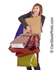 saco, shopping., grupo, mulheres negócios