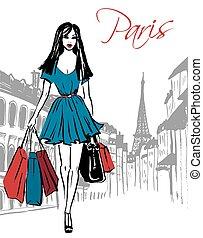 saco, shopping mulher