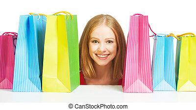 saco, shopping mulher, isolado, feliz