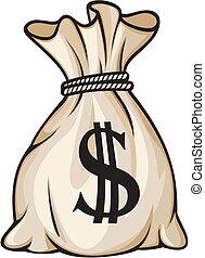saco, sinal dólar, dinheiro
