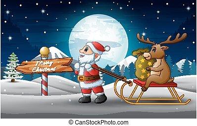 saco, tirar, sleigh, santa claus, caricatura, presentes, ...