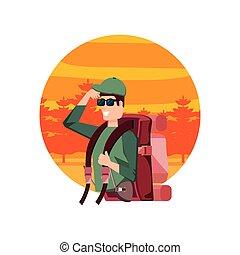 saco, viagem, homem, paisagem, viajante