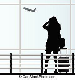 saco, viagem, vetorial, aeroporto, menina
