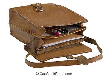 sacola couro, escola, antigas