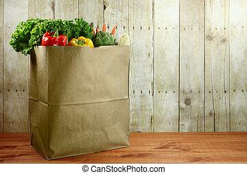 sacola, mercearia, produto, itens, ligado, um, prancha...