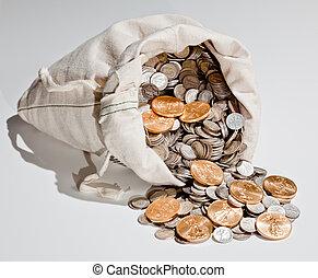 sacola, prata, e, moedas ouro