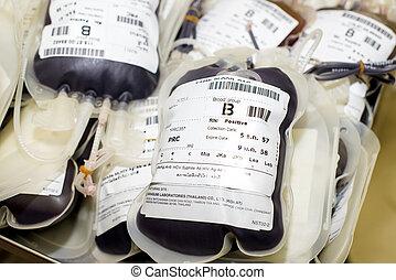 sacola sangue, e, plasma, grupo sanguíneo, digite b