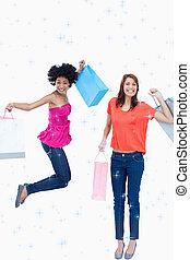 sacolas, adolescente, shopping, dela, imagem composta, pular, menina