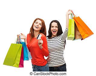 sacolas, adolescente, shopping, meninas, cartão crédito