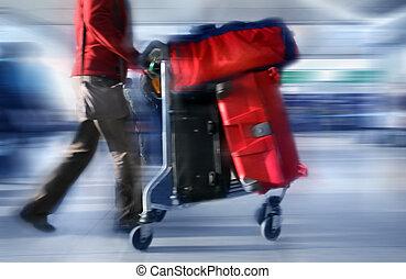 sacolas, aeroporto, vermelho, homem