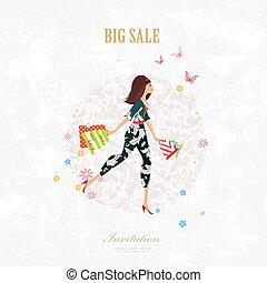 sacolas, andar, shopping, f, bonito, convite, menina, cartão
