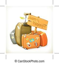 sacolas, branca, viajando
